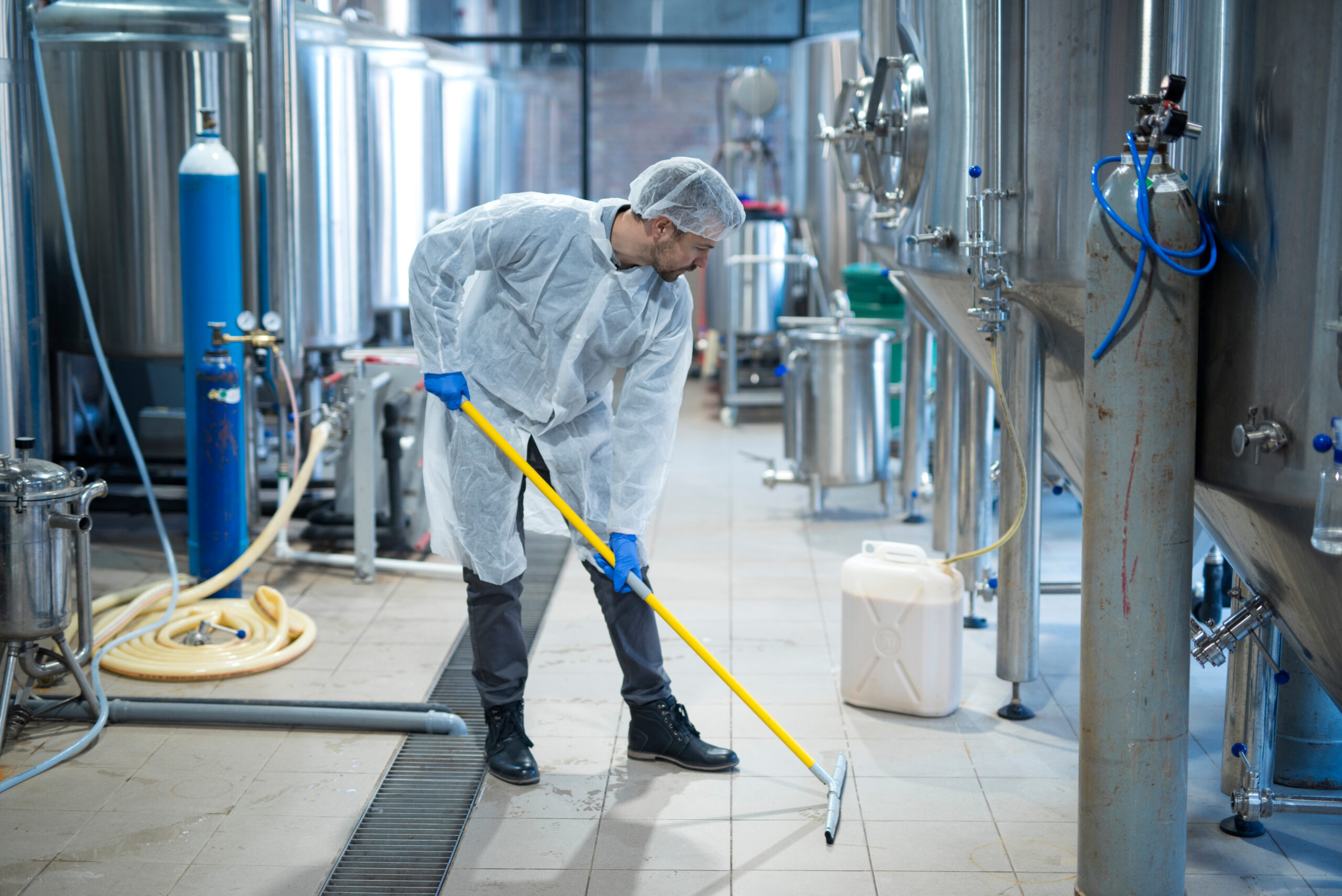 Commercial clean up: map mopping floor with industrial strength cleaners